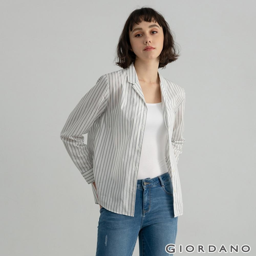 GIORDANO  女裝西裝領條紋襯衫 - 01 藍白條紋