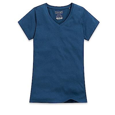 101原創 經典水洗原色V領素T恤-女-曠藍