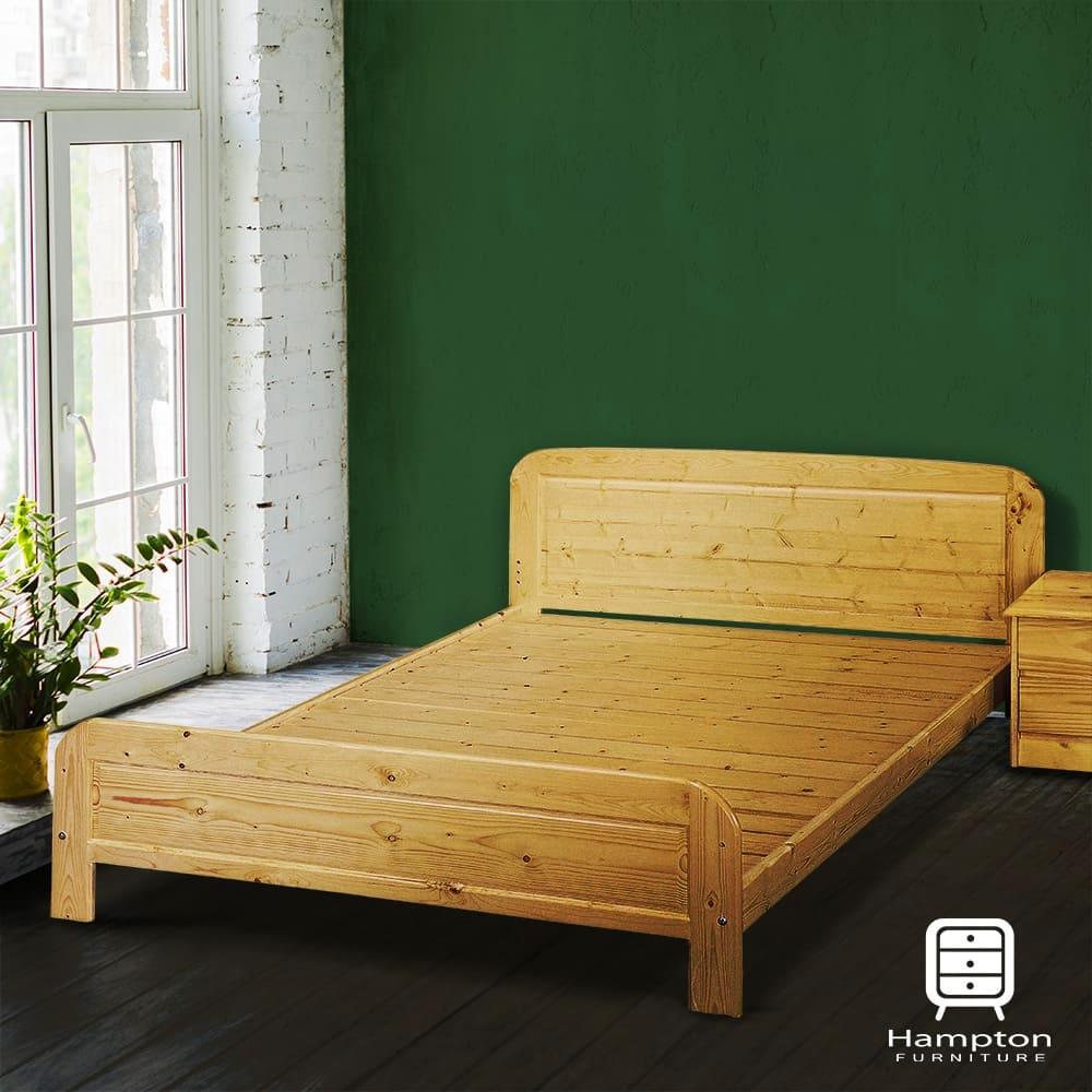 Hampton婕德白松木5尺雙人床架-152x193x73cm