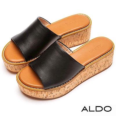 ALDO 原色羊皮鞋面軟木塞式厚底涼拖鞋~尊爵黑色