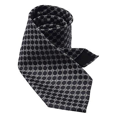 GUCCI 經典GG緹花刺繡圖案絲質領帶(黑X灰-148X8cm)