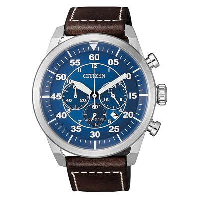 CITIZEN 光動能時尚計時三眼腕錶-咖啡X藍(CA4210-41L)/45mm