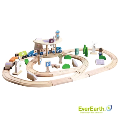 福利品 德國EverEarth 環保木製綠色城市火車軌道組