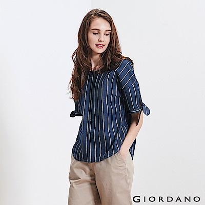 GIORDANO 女裝牛仔綁袖寬版T恤-76 深藍