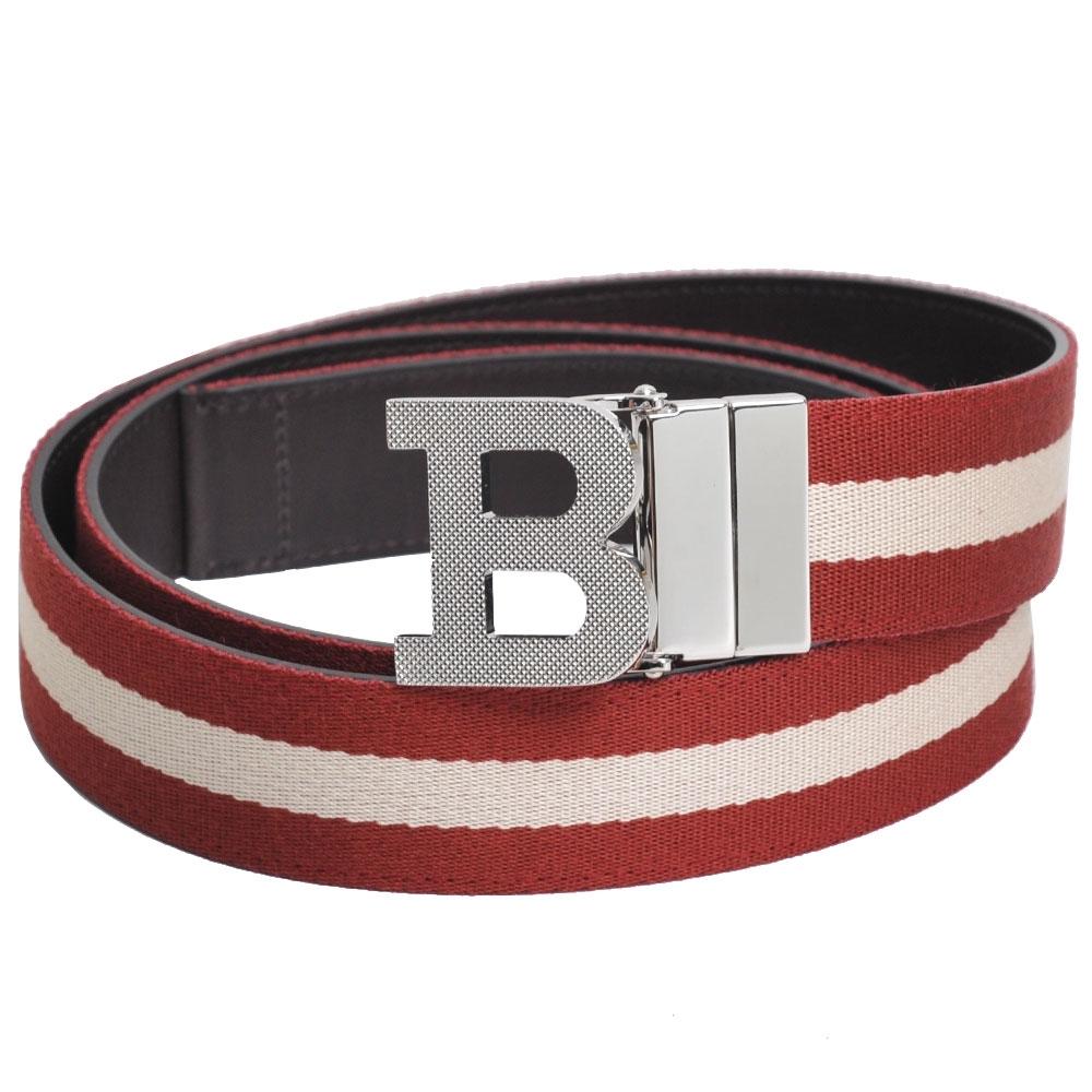BALLY B BUCKLE 經典織紋雙面兩用皮帶(紅白織帶/深咖啡)