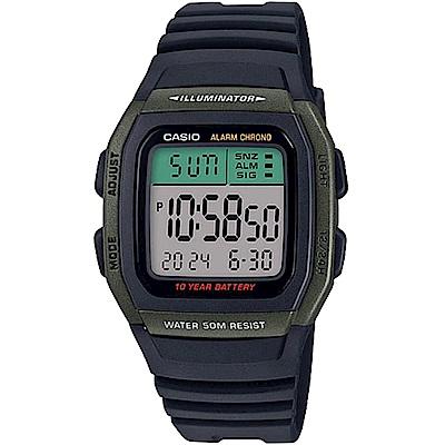 CASIO 樂活休閒運動數位電子錶(W-96H-3A)綠框/43.9mm