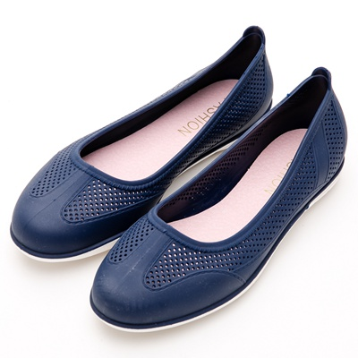 River&Moon防水鞋-晴雨二穿超Q軟沖孔圓頭休閒鞋-藍