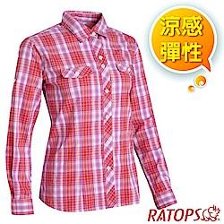 瑞多仕-RATOPS 女款 長袖彈性休閒格子襯衫_DA2367 紅色/紫粉格