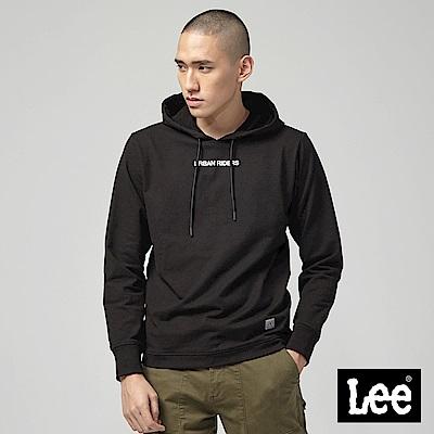 Lee 後背印花連帽厚TEE/UR黑色