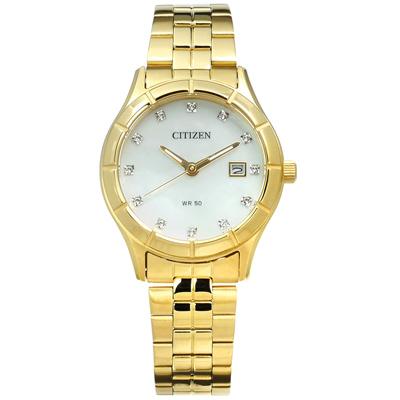 CITIZEN 星辰表 珍珠母貝晶鑽點綴日期不鏽鋼手錶-銀白x鍍金/28mm