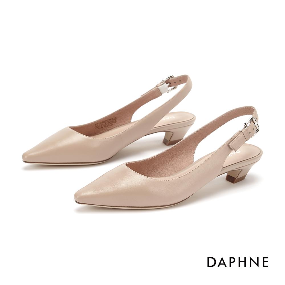 達芙妮DAPHNE 低跟鞋-質感真皮純色縷空尖頭粗跟鞋-杏 @ Y!購物