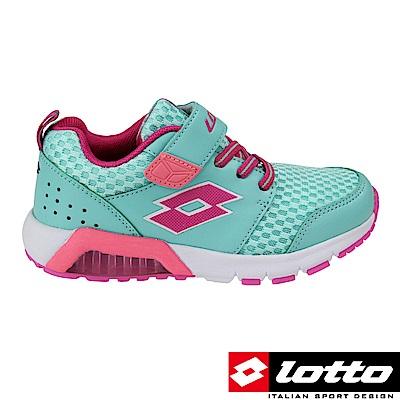 LOTTO 義大利 女中童 G MAX 避震彈力膠跑鞋(湖水綠)