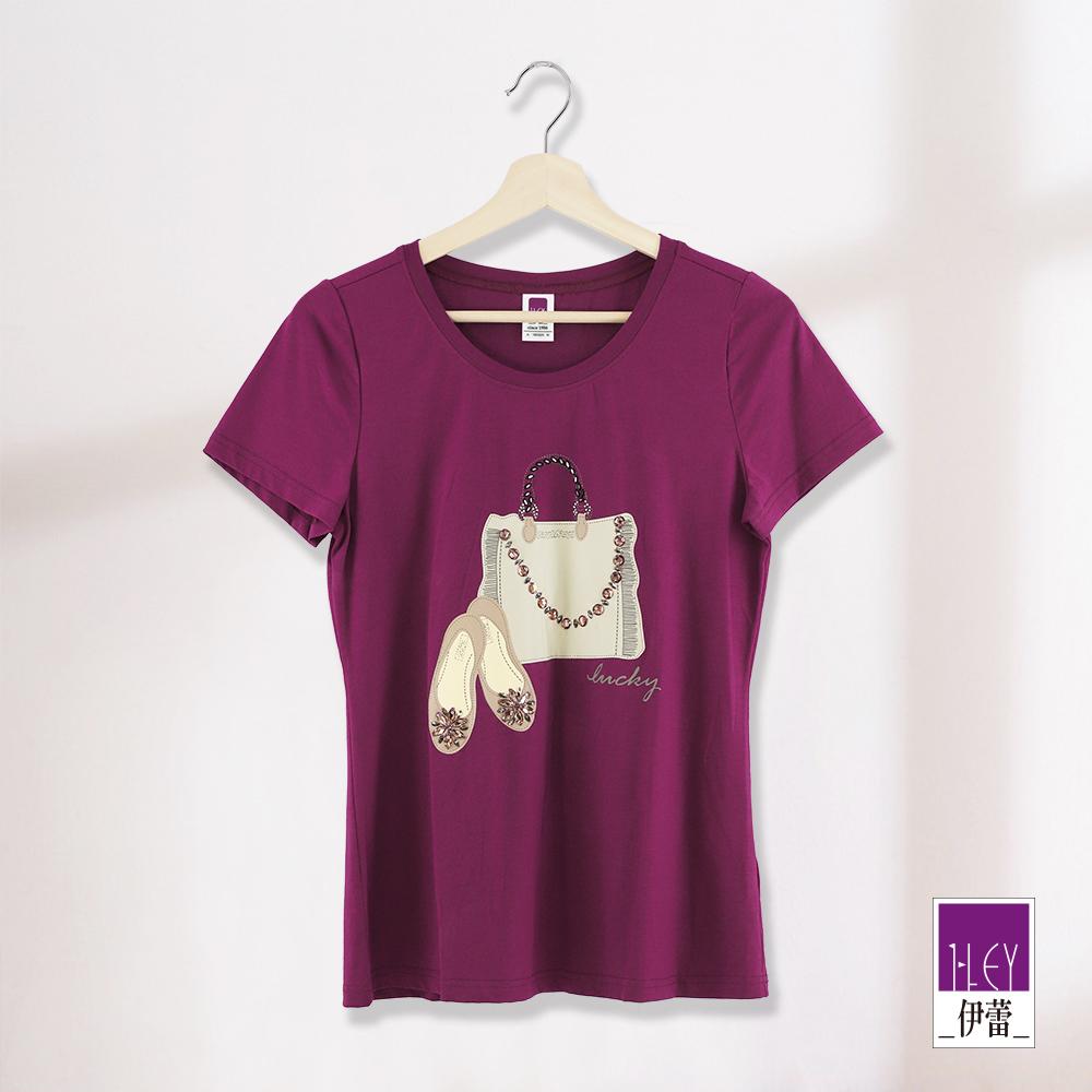 ILEY伊蕾 手袋印花棉T上衣(紫/藍)