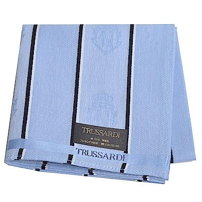 TRUSSARDI 貴族犬直紋浮水印LOGO帕領巾(水藍)
