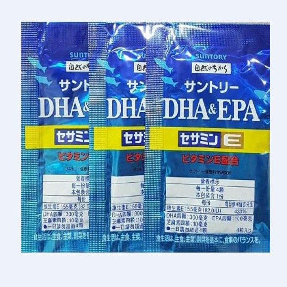 SUNTORY三得利 魚油 DHA&EPA+芝麻明E(30日份)-隨身包組合