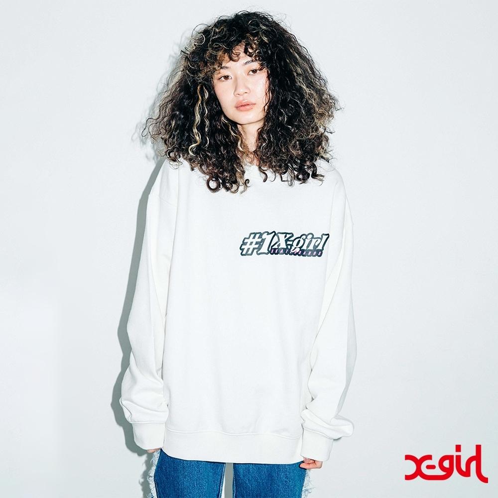 X-girl #1 FLOWER CREW SWEAT TOP 大學T-白