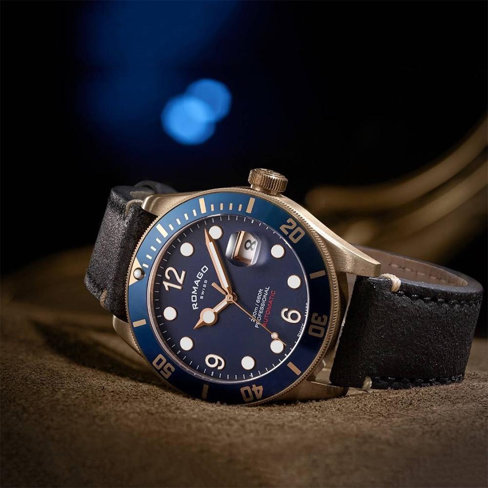 ROMAGO 限量青銅錶 潛水機械錶-藍/42.5mm RM106-BU