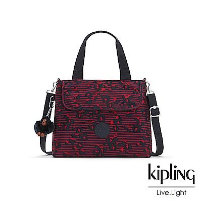 Kipling 高雅紅花條紋前翻蓋手提側背包-ENORA