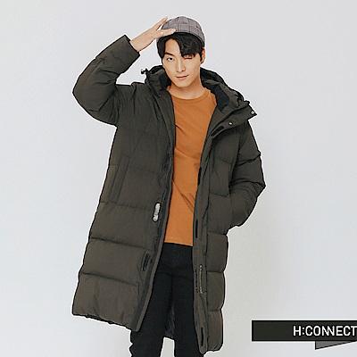 H:CONNECT 韓國品牌 男裝-極暖連帽長版羽絨外套-綠