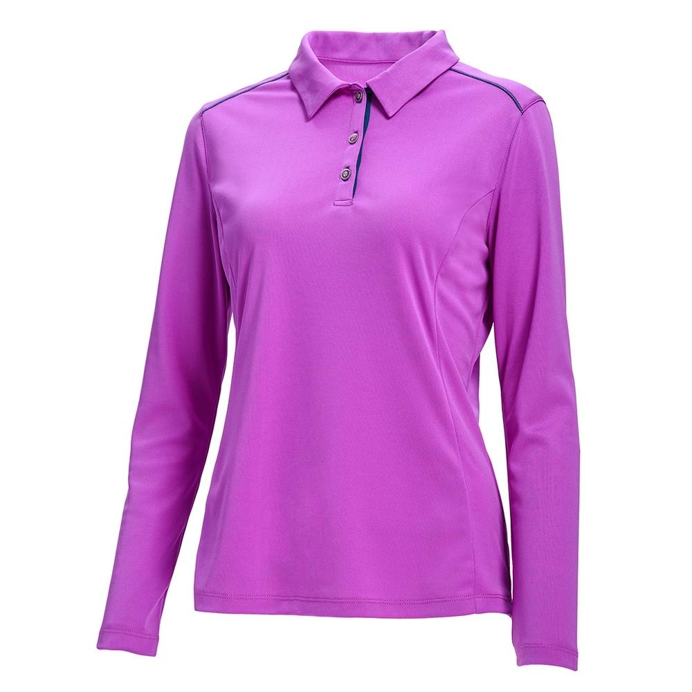 【WILDLAND荒野】女POLO透氣排汗抗UV長袖衣紫紅色