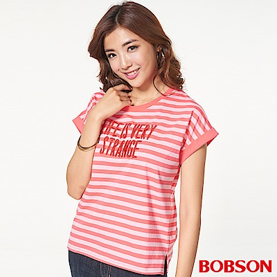 BOBSON 女款橫條字母小連袖上衣