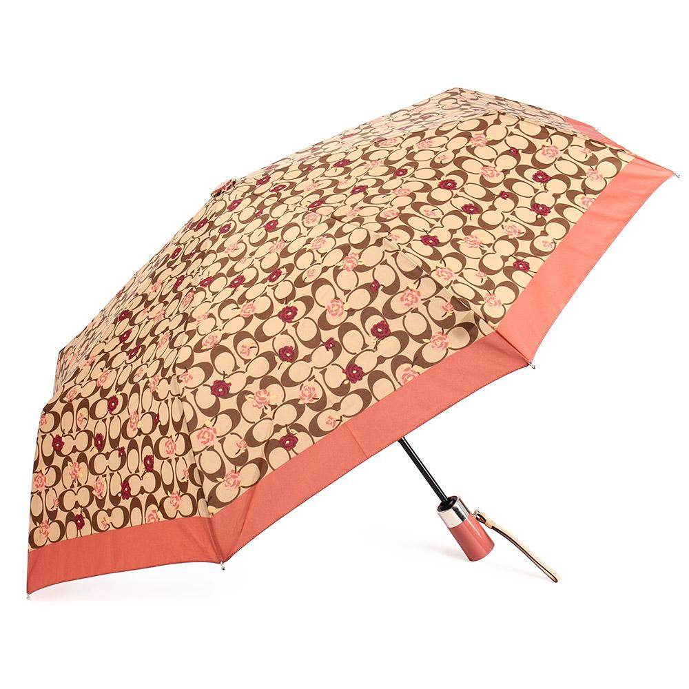 COACH 經典滿版LOGO玫瑰花圖案全自動開闔晴雨傘-卡其/粉橘色COACH