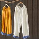 亞麻鬆緊腰休閒褲寬鬆薄版直筒長褲-設計所在