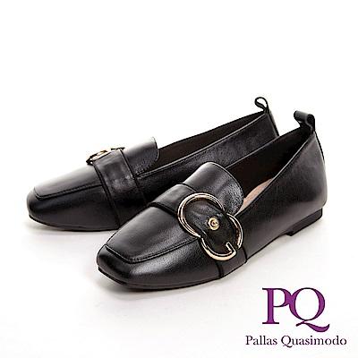 PQ 金屬圓釦方頭樂福鞋 女鞋-黑(另有米白)