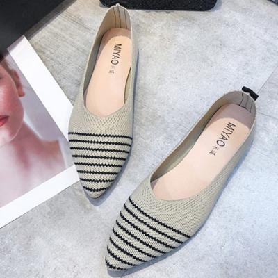 KEITH-WILL時尚鞋館 爆推條紋針織平底鞋-米