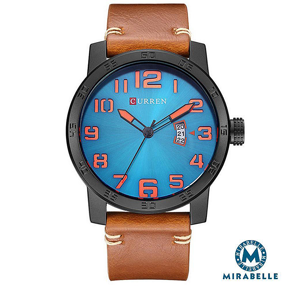 CURREN 卡瑞恩 數字大錶盤 撞色日期皮革男錶 棕帶藍面45mm