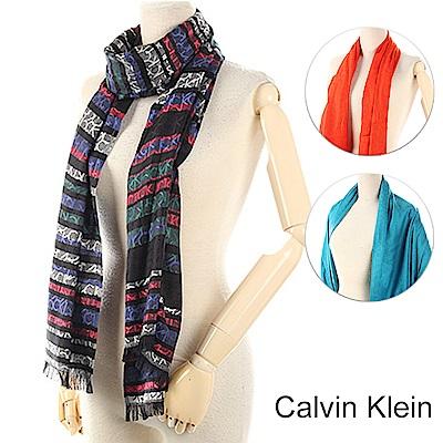 時時樂Calvin Klein 經典滿版LOGO絲質寬版披肩圍巾-任選999