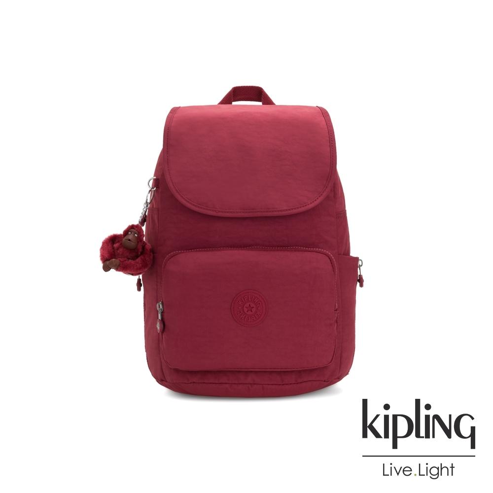 Kipling 經典百搭棗紅色掀蓋拉鍊後背包-CAYENNE