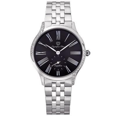 奧林比亞之星 Olympia Star 優雅晶漾弧線腕錶-黑  58087DBS