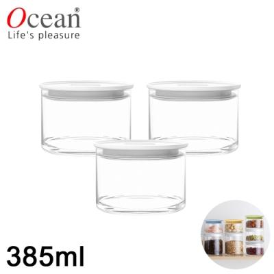 OCEAN NORMA系列儲物/儲存玻璃真空罐385ML-3入組(白)