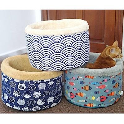 寵喵樂 日本風保暖深度圓桶睡窩