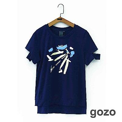 gozo gozo today女孩印花切口袖上衣(二色)