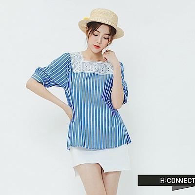 H:CONNECT 韓國品牌 女裝-方領條紋造型上衣-藍