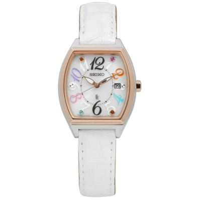 SEIKO 精工 LUKIA 太陽能鱷魚皮手錶-白x玫瑰金框/25mm
