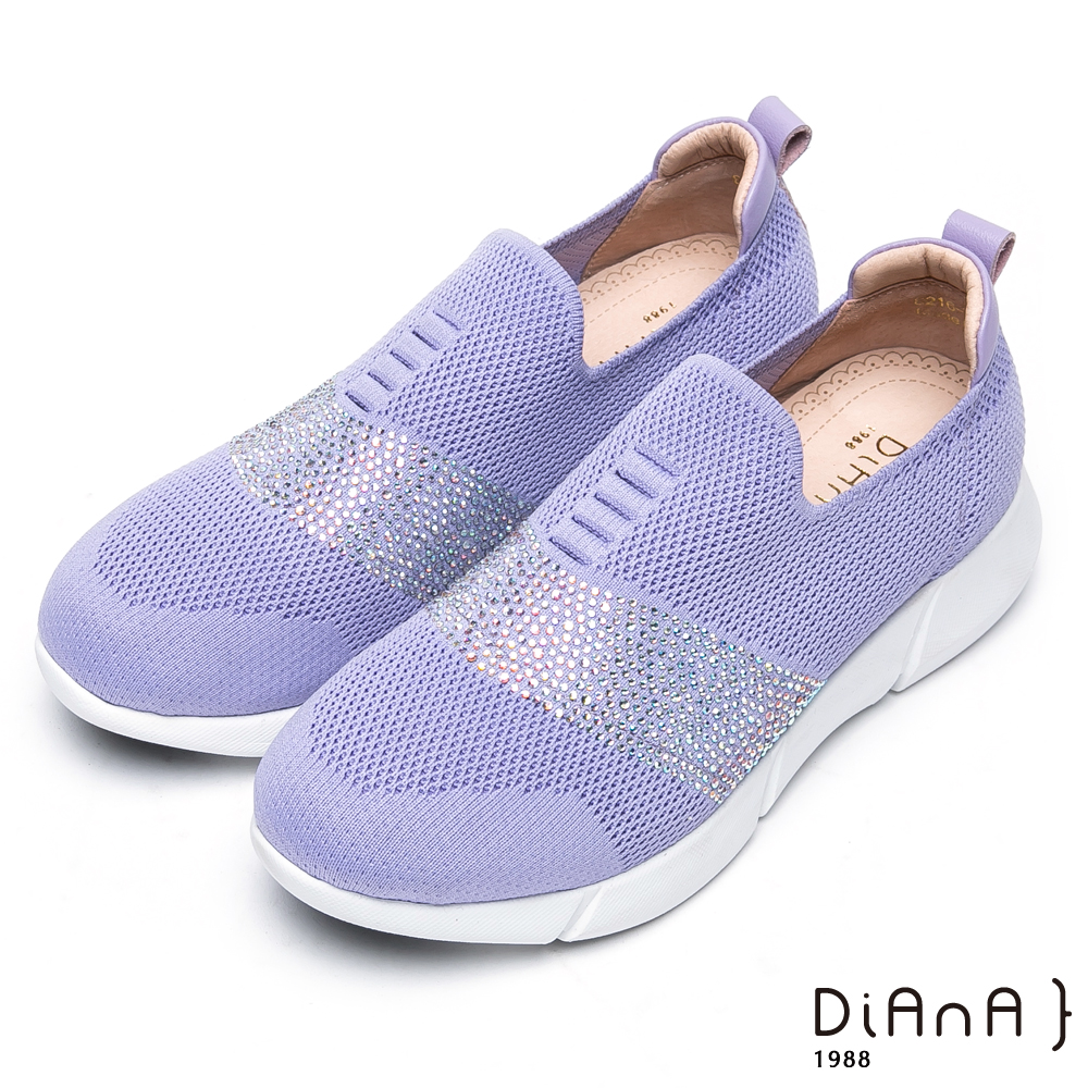 DIANA 漫步雲端厚切焦糖美人款-晶耀水鑽針織輕量厚底休閒鞋-紫