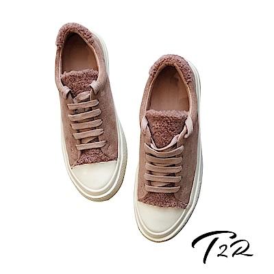 【T2R】韓國空運流行款毛毛異材質拼接帆布鞋-粉