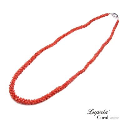 大東山珠寶 歐美古典編織珠寶 全紅沙丁珊瑚項鍊 57CM