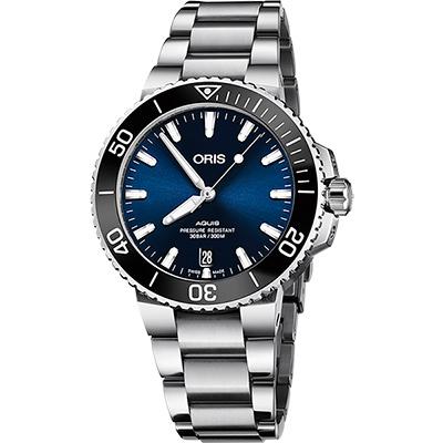 ORIS 豪利時 Aquis 時間之海300米潛水機械錶-藍x銀/39.5mm