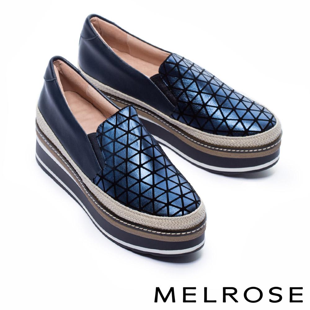 休閒鞋 MELROSE 幾何魅力異材質拼接全真皮厚底休閒鞋-藍