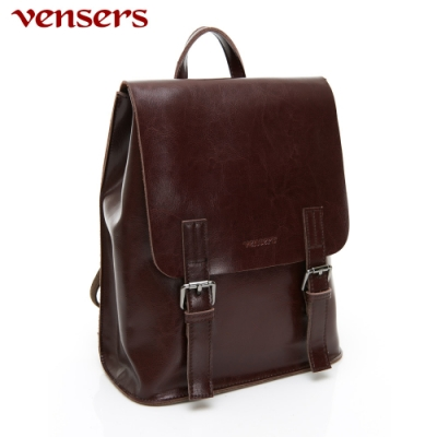 【vensers】小牛皮潮流個性包~多功能後背包/斜背包(NL1075701咖啡色)