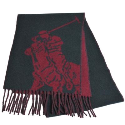 RALPH LAUREN POLO 義大利製大馬圖騰LOGO雙面配色羊毛圍巾(墨綠/酒紅)