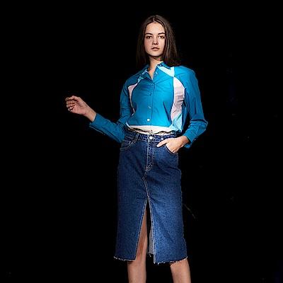 ICHE 衣哲 設計款色塊拼接100%高磅棉造型襯衫上衣-星雲藍
