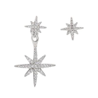 apm MONACO法國精品珠寶 鑲晶鑽雙繁星不對稱銀色耳環