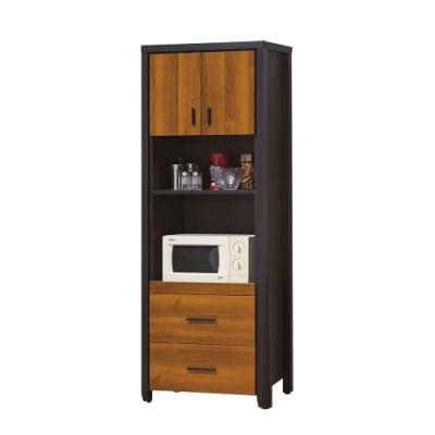 【綠活居】印度   雙色2.2尺二門拉盤高餐櫃/收納櫃-65x40x177cm免組