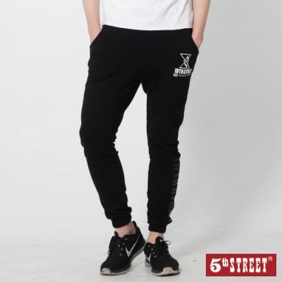 5th STREET 潮系列運動棉質 縮口休閒褲-男-黑色