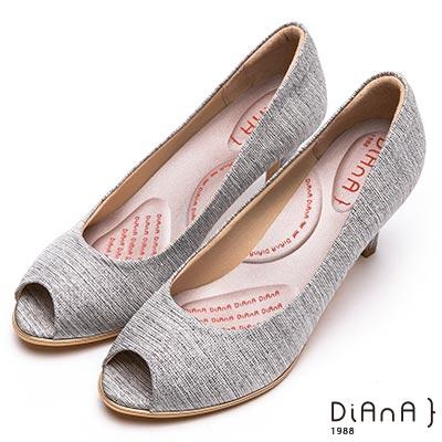DIANA璀璨法式金織布面魚口高跟鞋-輕盈美人-黑